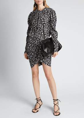 Etoile Isabel Marant Selwyn Printed Ruched Long-Sleeve Dress