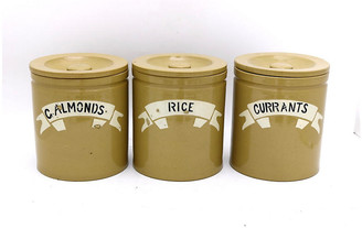 One Kings Lane Vintage 19th-C. Stoneware Kitchen Canisters - Set of 3 - New England Mercantile