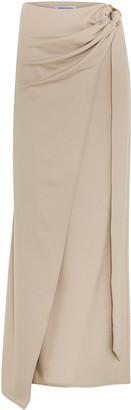 ANNA QUAN Arielle Draped Wool-Blend Maxi Skirt