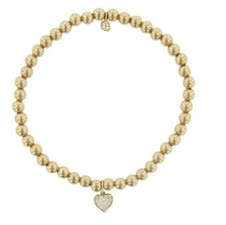 Sydney Evan Diamond Heart Charm On Gold Beaded Bracelet - Yellow Gold