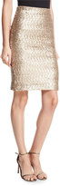 Alice + Olivia Ramos Sequined Fitted Skirt, Light Pink
