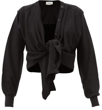 Lemaire Tied-overlay Merino Wool-blend Jersey Sweater - Black