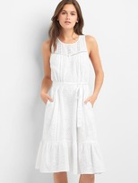 Gap Eyelet sleeveless tier dress