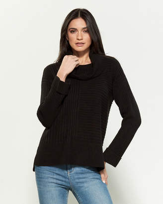 Calvin Klein Cowl Neck Rib Knit Long Sleeve Sweater