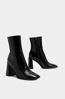 Nasty Gal Womens Square Up Patent Faux Leather Boot - Black