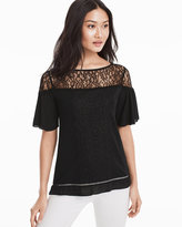 White House Black Market Short-Sleeve Lace Yoke Black Top