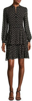 Tory Burch Seymore Fish-Print Long-Sleeve Dress, Black
