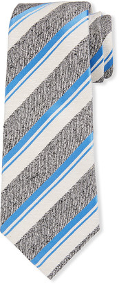 Kiton Men's Textured Stripe Silk Tie