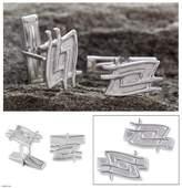 Sterling silver cufflinks, 'Magic Labyrinth'