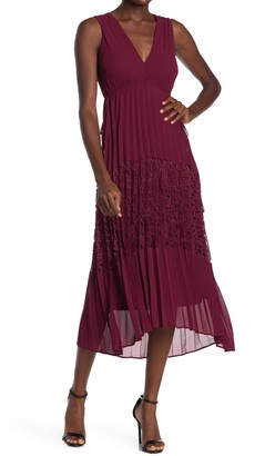 Taylor Crepe Lace Pleated Dress