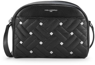 Karl Lagerfeld Paris Studded Woven Leather Crossbody Bag