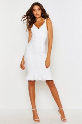 boohoo Tall Bandage Frill Hem Midi Dress