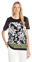 Alfred Dunner Women's Floral Knit Top with Border Print
