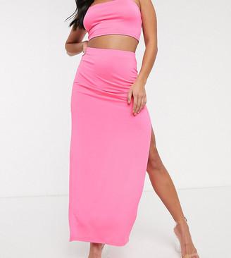 Asos DESIGN Petite double split thigh maxi skirt two-piece