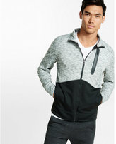 Express marled color block double knit track jacket