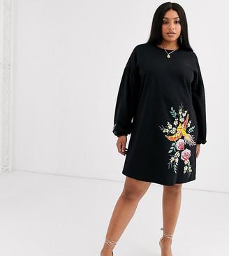 Asos DESIGN Curve embroidered sweat mini dress