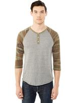 Alternative Basic Printed Eco-Jersey Raglan Henley Shirt