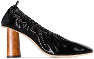 REJINA PYO Black Edie 80 wooden heel pumps