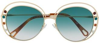 Chloé Eyewear Two-Tone Round-Frame Sunglasses