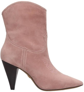 Lola Cruz High Heels Ankle Boots In Rose-pink Suede