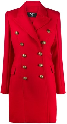 Balmain Double-Breasted Virgin Wool Coat