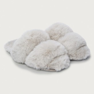 The White Company Faux-Fur Strap Slider Slippers, Pale Grey, L[7/8]