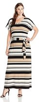 NY Collection Women's Plus Size Printed Elbow Dolman Sleeve Vneck Maxi Dress with Self Tie