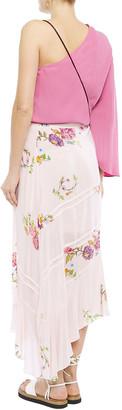 Preen Line Kalifa Asymmetric Floral-print Crepe De Chine Midi Wrap Skirt