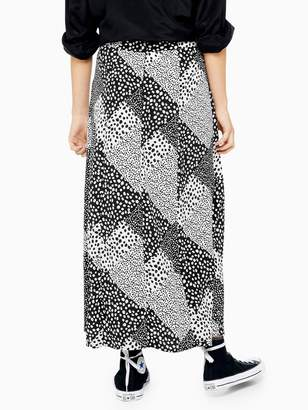 Topshop Petite Spot Maxi Skirt - Monochrome