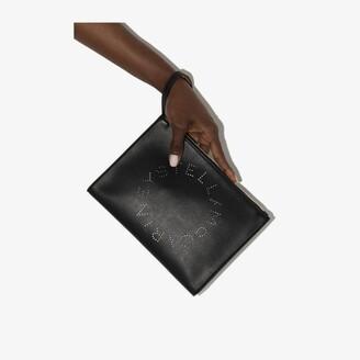 Stella McCartney black Stella logo clutch bag