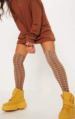 PrettyLittleThing Logo Brown Knee Length Socks