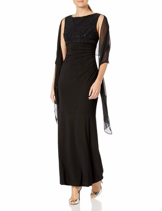 Jessica Howard JessicaHoward Women's Embellished Bodice Gown with Scarf