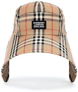 Burberry Checked cotton-blend bonnet cap