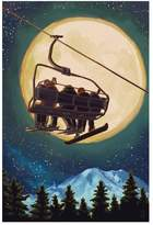 Art.com Ski Lift and Full Moon with Snowboarder Art Print By Lantern Press - 41x61 cm