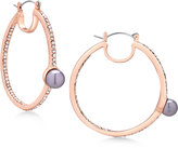 GUESS Rose Gold-Tone Pavé and Gray Imitation Pearl Hoop Earrings