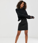 Noisy May Tall coated a line mini skirt in black