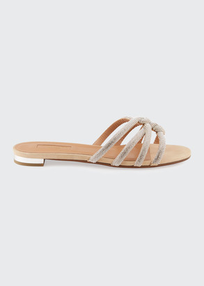 Aquazzura Moon Dust Flat Napa Leather Slide Sandals