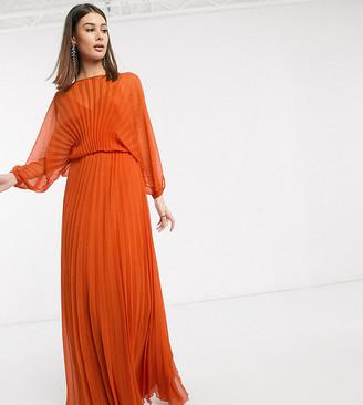 Asos Tall DESIGN Tall Blouson pleated Maxi dress with self belt-Multi