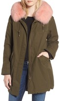 1 Madison Women's Hooded Cotton Parka With Genuine Fox Fur Trim