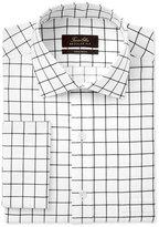 Tasso Elba Men's Classic/Regular Fit Black White Windowpane French Cuff Dress Shirt, Only at Macy's