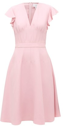 Giambattista Valli Flounced-sleeve Flared Crepe Midi Dress - Womens - Light Pink