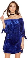 Quiz Royal Blue Velvet 3/4 Tie Sleeve Tunic