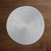 Crate & Barrel Matte Silver Glimmer Round Plastic Placemat