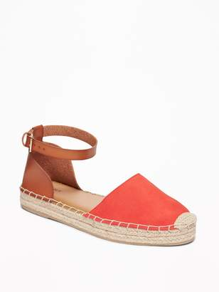 Old Navy Faux-Suede/Faux-Leather Ankle-Strap Espadrilles for Women