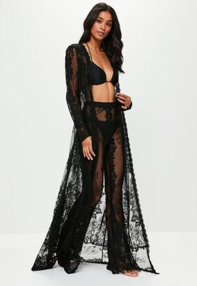 Missguided Premium Black Eyelash Lace Beach Kimono