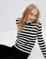 Daisy Street Roll Neck Sweater In Stripe