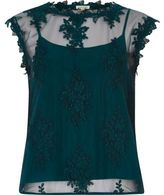 River Island Womens Green sleeveless lace and mesh top