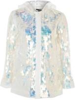Topshop Transparent Sequin Mac Raincoat