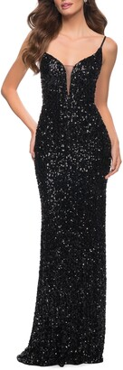 La Femme Deep V-Neck Sequin Gown