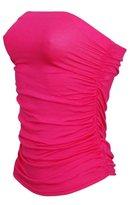 ZJ Clothes Women's Plain Plus Size Ruched Bandeau Boob Tube Crop Bra Top